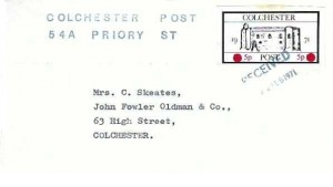 1971 Colchester Post Strike Mail Cover, Posted Locally, Cancelled with dated received cachet