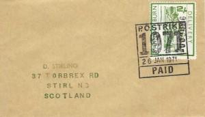 1971 Scottish Strike Mail 2/- Delivery Bannockburn Strike Label, PO Strike 1971 Paid Cancel