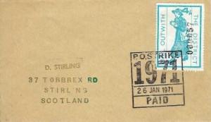 1971 Scottish Strike Mail 4/- Mail Outwith strike Label, PO Strike 1971 Paid Cancel