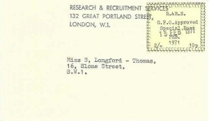 1971 Research & Recruitment Services 2/- (10p) GPO Approved Special Post London W1