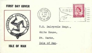 1964 2½d Isle of Man Regional, Triskelion Isle of Man symbol FDC, First Day of Issue Douglas Isle of Man Slogan