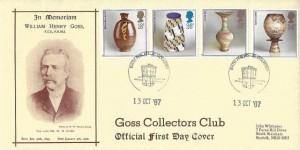 1987 Pottery, Goss Collectors Club FDC, Bath Philatelic Counter H/S