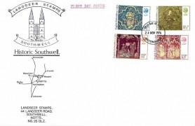 1976 Christmas, Landseer Stamps Historic Southwell FDC, Nottingham FDI