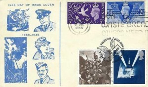 1946 Victory, Illustrated FDC, Don't Waste Bread Other Need It Edinburgh Slogan, Double dated with 19p & 25p 1995 VE Day Stamps, Peace & Freedom London EC4 H/S