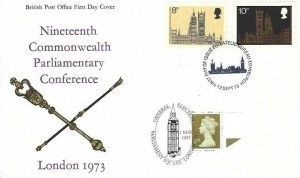1973 Parliament, Post Office FDC, First Day of Issue Philatelic Bureau Edinburgh, Double Dated with 1997 General Election Parliament Square London SW1