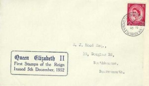 1952 QEII Definitive Issue 2½d Only, Display FDC, Kimberley Road Bournemouth Hants. cds