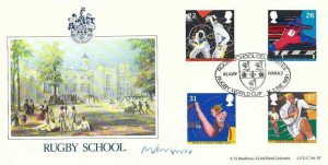 1991 Sports, Bradbury LFDC No.97 Rugby School Official FDC, Rugby School Celebrated Rugby World Cup Rugby Warks. H/S, Signed by M Mavor Head Master