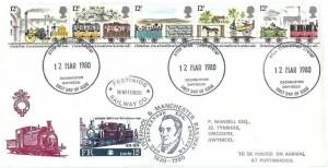 1980 Liverpool & Manchester Railway, Festiniog Railway FDC, Caernarfon Gwynedd FDI, + 15p Railway Letter