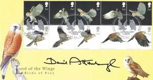 2003 Birds of Prey, Steven Scott No.75 Official FDC, Steven Scott Covers for Colourful Birds Bird in the Bush Road London SE15, signed by David Attenborough