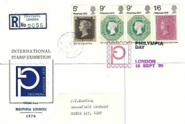 1970 Philympia, Registered Official Philympia London 1970 FDC, Olympia W14 + Philympia Day London H/S