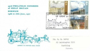 1971 Ulster Paintings, 53rd Philatelic Congress Of Great Britain Norwich (Blue) FDC, 53rd Philatelic Congress Norwich H/S