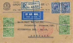 1932 Registered Grove Court Garage Ltd Airmail Cover, Tottenham to Wittenberg Germany, Flown by British Airways Ltd, White Hart Lane Tottenham N17 cds