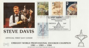 1984 Green Meridian Havering Steve Davis Snooker Champion Official FDC