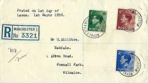 1936 King Edward VIII ½d, 1½d, 2½d Definitive Issue, Plain Registereds FDC, Royal Exchange BO Manchester cds