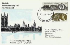 1965 700th Anniversary of Parliament, Illustrated FDC, Birmingham FDI