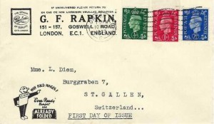 1937 King George VI ½d, 1d, 2½d Definitive Issue, G F Rapkin Stamp Dealer FDC, London EC Cancel