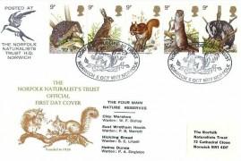 1977 British Wildlife, Markton Norfolk Naturalists Trust (NNT) Official FDC, Norfolk Wildlife in Trust Norwich Norfolk H/S, + Cachet