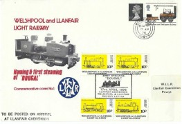 1976 Welshpool & Llanfair Light Railway Naming & First Steaming of 'Dougal' Commemorative Cover No.1, Welshpool Powys cds