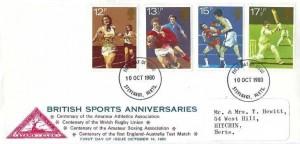 1980, British Sports Anniversaries, North Herts. Stamp Club FDC, Stevenage Herts. FDI
