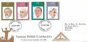 1980, British Conductors, North Herts. Stamp Club FDC, Stevenage Herts. FDI