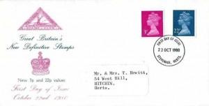 1980, QEII Definitive Issue, 3p, 22p, North Herts Stamp Club FDC, Stevenage Herts. FD