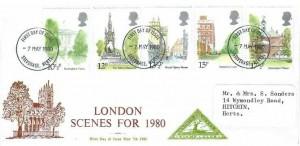 1980 London Landmarks, Famous People, North Herts. Stamp Club FDC, Stevenage Herts.FDI