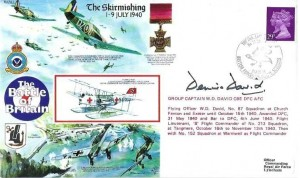 1990 50th Anniversary of the Battle of Britain Commemorative Cover, 75th Anniversary No.24 Squadron British Forces 2216 Post Services H/S, Signed by Group Captain Dennis David CBE DFC AFC