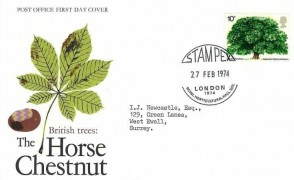 1974 Horse Chestnut Tree, Post Office FDC, Stampex London 1974 Royal Horticultural Hall SW1 H/S