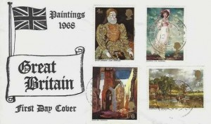 1968 British Paintings, Illustrated FDC, East Bergholt Colchester Essex cds