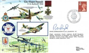 1990 50th Anniversary of the Battle of Britain Commemorative Cover, 50th Anniversary of the Invasion of Norway British Forces 2227 Post Services H/S, Signed by Wing Commander R A B Learoyd VC