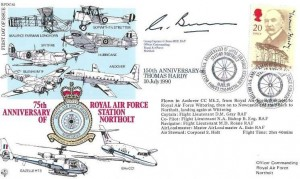 1990 Thomas Hardy, RFDC 85 Official FDC, 75th Anniversary of the Royal Air Force Station Northolt British Forces 2260 Postal Service H/S, Signed by Group Captain G Bunn MBE RAF