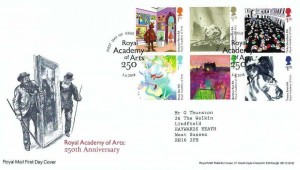 2018 Royal Academy of Arts, Royal Mail FDC, First Day of Issue London W1 Royal Academy of Arts 250 H/S