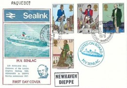 1979 Sir Rowland Hill, Sealink M.V. Senlac FDC, Dieppe Maritime cds, Posted on Board M.V.Senlac & Newhaven Dieppe Cachets