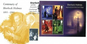 2020 Sherlock Holmes Miniature Sheet, Covercraft Centenary of Sherlock Holmes FDC, Sherlock GBFDC Association Crowborough East Sussex H/S.