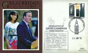 2016 Resignation of David Cameron Prime Minister Benham Cover, Royal Mail London SW1 H/S