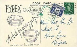 1956 1d St.Edward's Crown Watermark, Violet Blue Postage Due. Pyrex Ovenware Printed Matter Postcard FDC. Kings Lynn cds
