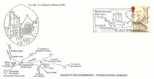 1990 Thomas Hardy, A Pearce Official FDC, Puddletown Dorset Hardy's Weatherbury H/S