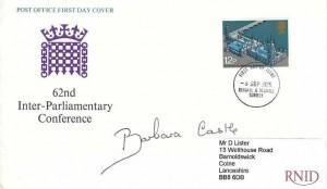1975 Parliament, Post Office FDC, Reigate & Redhill Surrey FDI, Signed by Barbara Castle