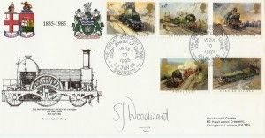 1985 Trains Great Western Town Swindon Official FDC, 150th Anniversary of GWR The Great Western Swindon H/S, Signed