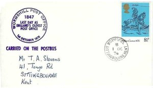 1976 Last Day of England's Oldest Post Office Wormshill Kent Cover, Wormshill Sittingbourne Kent cds