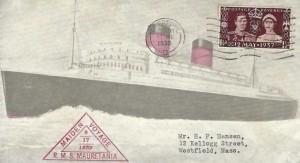 1939 Maiden Voyage of R.M.S Mauretania Liverpool to New York, Liverpool Cancel