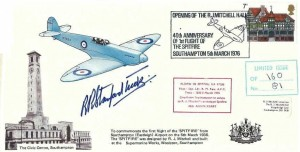 1976 First Flight of the Spitfire from Southampton 1936 Commemorative cover, Opening of the R.J. Mitchell Hall 40th Anniversary of the First Flight of the Spitfire Southampton H/S, Signed by Bob Stanford Tuck, & Flown