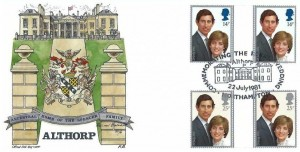 1981 Royal Wedding, Althorp Official Coloured FDC, Commemorating the Royal Wedding Althorp Northampton H/S, Gutter pairs.