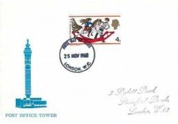 1968 Christmas, Post Office Tower FDC, 4d stamp only. London WC FDI