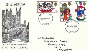 1968 Christmas, Lincoln Cathedral FDC, Lincoln FDI