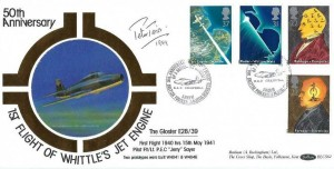 1991 Scientific Achievements, Benham BLCS62 FDC, 50th Anniversary of the First Aircraft Turbo Jet Flight RAF Cranwell British Forces 2259 Postal Service H/S, Signed by Peter Twiss
