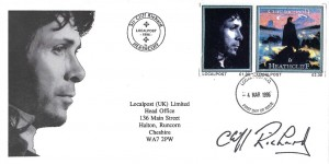 1996 Localpost (UK) Limited Sir Cliff Richard Heathcliff Cover, Local Post HO FDI, Signed by Cliff Richard (Facsimile) Signature