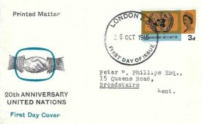 1965 United Nation International Cooperative year, Illustrated FDC, 3d ordinary stamp only London EC FDI