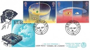 1991 Europe in Space, Europa FDC Service FDC, Edinburgh 19 cds