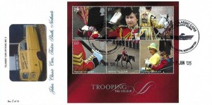 2005 Trooping the Colour Miniature Sheet, M Brazier Classic Car Official No.2 FDC, John's Classic Cars Reliant Robin Fosters Booth Northampton H/S
